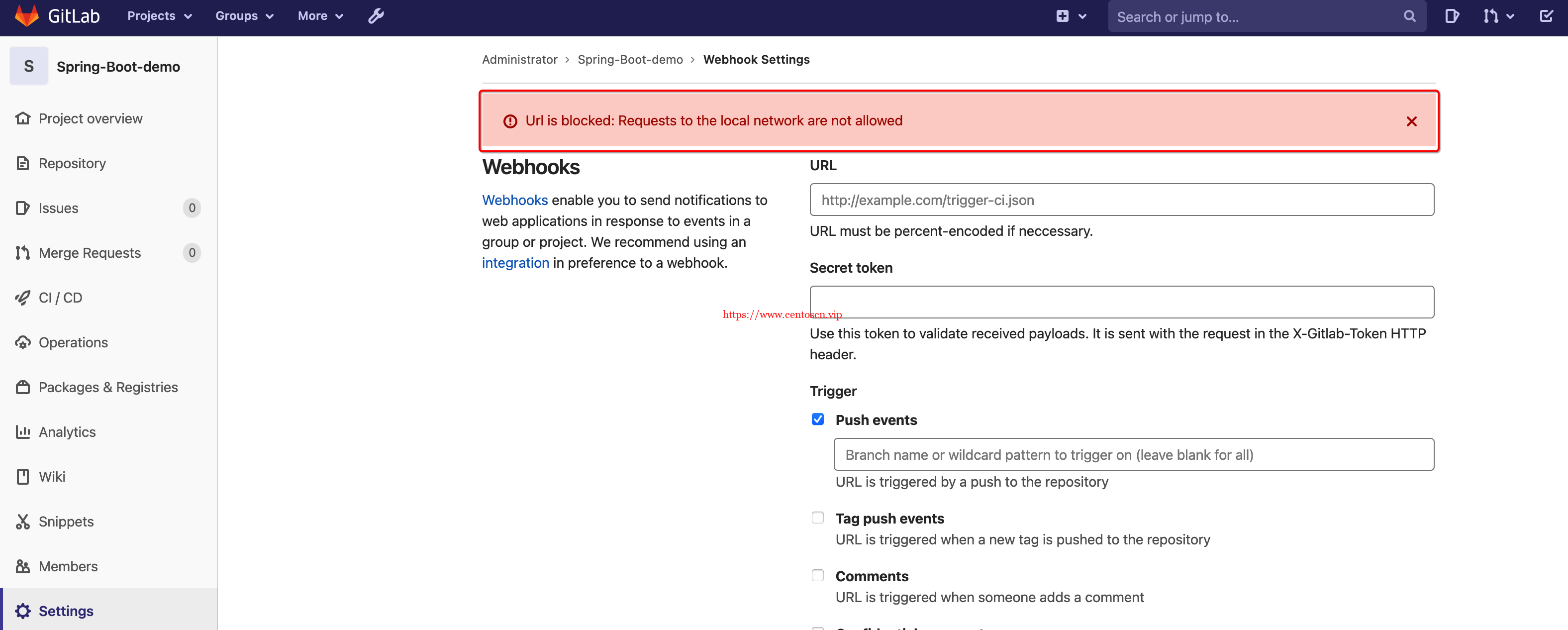 Url is blocked: Requests to the local network are not allowed